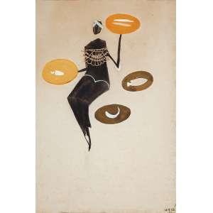 CARYBE - Sem título- Guache e nanquim sobre papel - Ass.inf.dir. - 31 x 46 cm - Com etiqueta Paulo Darzé Galeria.