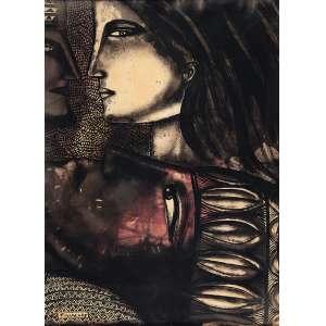 FARNESE DE ANDRADE - Figura V - Técnica mista sobre papel - Ass.dat.1975 inf.esq. - 70 x 50 cm - Com etiqueta da Oscar Seráphico Galeria de Arte Ltda no verso.