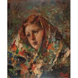 VICENZO IROLLI - Mulher de lenço - Óleo sobre eucatex - Ass.inf.dir. - 50 x 40 cm