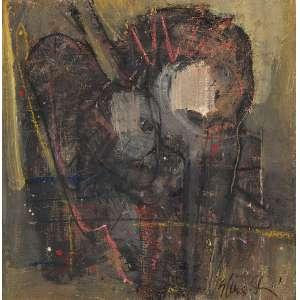 FLÁVIO SHIRÓ - Moteirité - Óleo sobre tela - Ass.inf.dir.,ass.dat.1988 no verso. - 60 x 58 cm