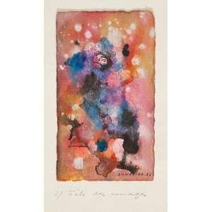 ANTÓNIO BANDEIRA - Fête des mages Aquarela - Ass.dat.1953 inf.dir.,tit. no passe-pantourt. - 16 x 9,5 cm - Reproduzido no catálogo de leilão Bolsa de Arte de Abril 2003.