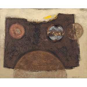 YUTAKA TOYOTA - Sem título - Óleo, cobre e rede sobre eucatex - Ass.dat.1964 inf.dir. - 60,5 x 76 cm