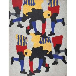 """CLÁUDIO TOZZI - """"Dança do futebol"""" - (2 partes + bola de futebol) Acrílico sobre tela sobre madeira - Ass.inf.dir, ass.tit.dat.1997 no verso. - 245 x 190 cm"""