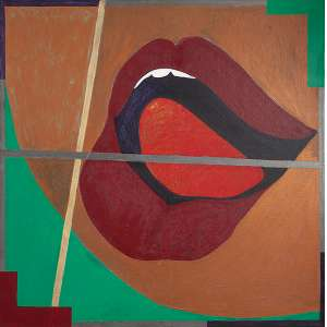 "RUBENS GERCHMANN - ""Boca a boca"" - Óleo sobre tela -Ass.tit.dat.1978/1982 no verso. - 90 x 90 cm"