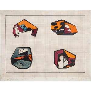 """ARTUR BARRIO - """"Sem título"""" - Guache, nanquim e colagem sobre papel - Ass. inf. esq.,dat.1968/1969 inf. dir. - 32 x 44 cm"""