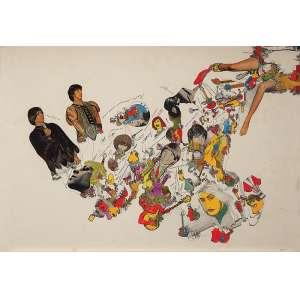 """FERREIRA GULLAR - """"Assemblage Pop"""" - Nanquim , aquarela e colagem sobre papel - Ass.inf.dir - 1969. - 62 x 43 cm"""