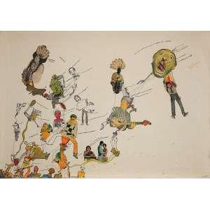 """FERREIRA GULLAR - """"Sem título"""" - Nanquim e aquarela sobre papel - Ass.dat.1969 inf.dir. - 46 x 60 cm"""