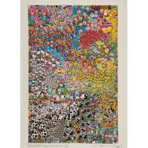 """NELSON LEIRNER - """"Sem título"""" - Colagem de adesivos - Ass.dat.1999+4 inf.dir.com dedicatória inf. esq. - 68 x 49 cm"""
