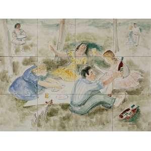 "OSIRARTE – VOLPI E ZANINI - ""Piquenique"" - Pintura sobre azulejo - Ass. inf. dir. - 45,5 x 60,5 cm"