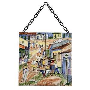 """OSIRARTE – VOLPI E ZANINI - """"Roda de capoeira"""" - Pintura sobre azulejo - Ass. inf. dir. - 30 x 30 cm"""
