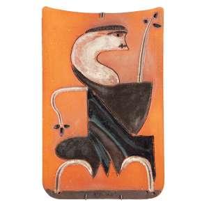 """MIGUEL DOS SANTOS - """"Sem título"""" - Escultura de parede em barro pintada - Ass.dat.1976 no verso. 37 x 24 cm"""