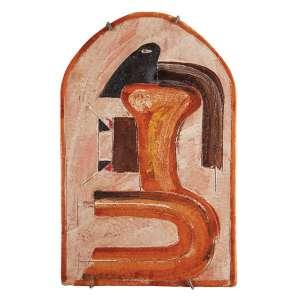 """MIGUEL DOS SANTOS - """"Sem título"""" - Escultura de parede em barro pintada - Ass. no centro inf., ass.dat.1974 no verso. - 38 x 24 cm."""