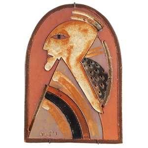 """MIGUEL DOS SANTOS - """"Sem título"""" - Escultura de parede em barro pintada - Ass.dat.1984 inf.esq. - 44 x 31,5 cm"""