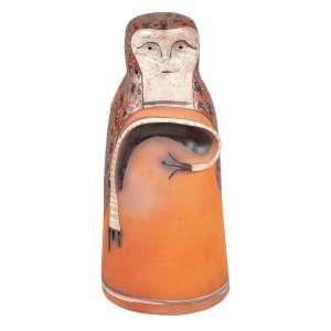 """MIGUEL DOS SANTOS - """"Sem título"""" - Escultura em barro pintada - Assinada - 1974. - 48 cm"""