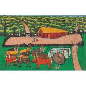 """JOSÉ ANTÔNIO DA SILVA - """"Carro de boi"""" - Óleo sobre tela - Ass.dat.1965 ao centro. - 65 x 100 cm"""
