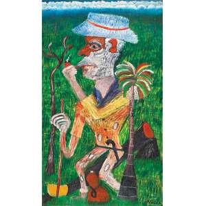 "JOSÉ ANTÔNIO DA SILVA - ""Retrato de meu pai Issac Antônio da Silva"" - Óleo sobre tela - Ass. inf. dir, Ass.tit.dat.1937/1997 no verso. - 100 x 60,5 cm"