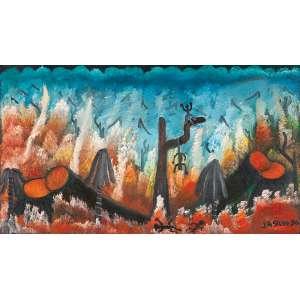 """JOSÉ ANTÔNIO DA SILVA - """"Floresta"""" - Óleo sobre tela - Ass.dat.1990 inf.dir,ass. dat.no verso. - 40 x 70 cm"""