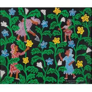 """MARIA AUXILIADORA - """"Colheita de flores"""" - Óleo e guache sobre cartão. Ass.dat.1973 inf. dir. - 23 x 28 cm"""
