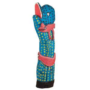 """MANOEL GRACIANO - """"Coluna de animais""""- Escultura em madeira pintada - Assinada. - 90 cm"""