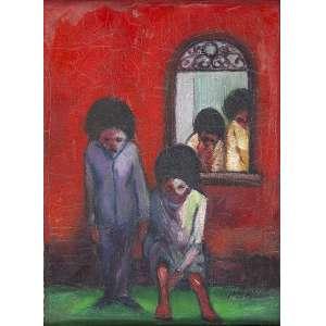 JOSÉ MARIA DE SOUZA - Fundo vermelho - Óleo sobre tela - ass. inf.dir. e ass., dat. 1968, sit. Rio no verso e tit. no chassis. - 22 x 16 cm