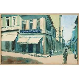 """BENEDITO JOSÉ TOBIAS - """"Rua Libero Badaró 1897"""" - Aquarela - Ass.inf.esq,tit. no verso. - 18 x 28 cm"""
