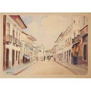 """BENEDITO JOSÉ TOBIAS - """"Rua Direita ao fundo Igreja Sto. Antônio –São Paulo 1860""""- Aquarela - Ass. inf. esq., tit. no verso. - 19 x 27 cm"""