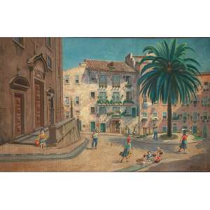 """OTTO BUNGNER - """"Largo São Miguel e igreja St. Antônio –Lisboa – Alfama Portugal"""" - Óleo sobre tela - Ass.tit.dat.1953 inf. dir. - 191 x 298 cm - Apresenta pequenos furos."""
