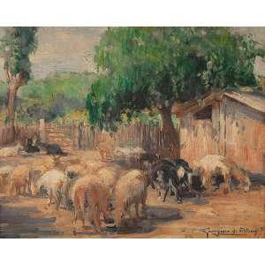 """GEORGINA DE ALBUQUERQUE - """"Curral das cabras"""" - Óleo sobre eucatex - Ass. inf. dir. - 32 x 40 cm"""