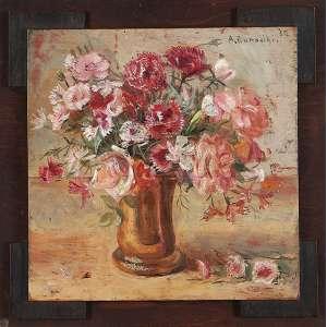 """ALDO BONADEI - """"Vaso de flores"""" - Óleo sobre madeira - Ass.dat.1932 sup.dir. - 36 x 36 cm - Ex. Coleção Joseph Claude Pierre Sartorio."""
