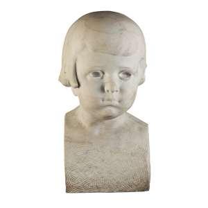 """VICENTE LARROCA - """"Busto de criança"""" - Escultura em mármore - Assinada - 1924. - 29 cm"""