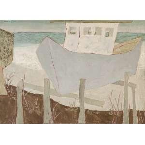"""FANG - """"Barco na praia"""" - Óleo sobre tela - Ass.dat.1980 no sup. esq. - 50 x 70 cm - Reproduzido na pág.108 do livro do artista - edição """"Publishing House"""" – Dan Galeria. Ex. Coleção Roberto Azevedo."""