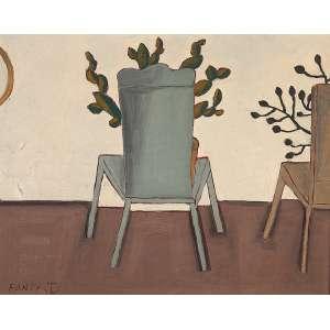 """FANG - """"Cadeiras e plantas""""- Óleo sobre tela - Ass. inf. esq. - 50 x 40 cm"""