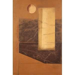 """CARLOS SCLIAR - """"Jarra e Fruta"""" -Vinil e colagem encerado sobre tela - Ass.dat.1976 inf.dir. ass.tit. dat. e loc. """"Ouro Preto"""" no verso. - 56 x 37 cm - Com etiqueta da Claudio Gil Studio de Arte no verso."""