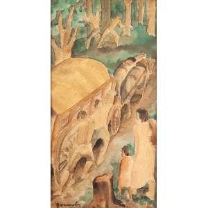 """ANTÔNIO GOMIDE - """"Paisagem com figuras e carroça"""" - Aquarela sobre papel - Ass.inf.esq. - 25 x 13 cm - Ex. coleção Mendel Ruhman."""