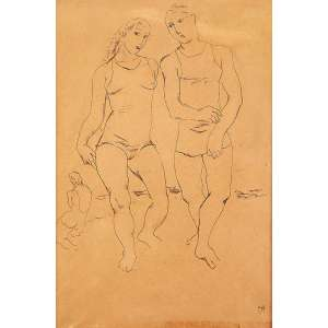 """ISMAEL NERY - """"Bailarinos"""" - Nanquim sobre papel - Ass.inf.dir. - 22,5 x 15,5 cm - Ex. coleção Mendel Ruhman."""
