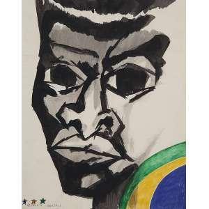 """ALDEMIR MARTINS - """"Pelé"""" - Aquarela sobre papel - Ass.inf.esq. 1972. - 28 x 23 cm - Desenho original para serigrafia editada pela KOMPASS - Escritório de arte que pertenceu ao crítico de arte Harry Laus – SP - 1970/1974."""
