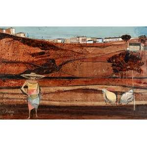 """KARL PLATTNER - """"Moça alimentando galinhas"""" - Óleo, nanquim e guache sobre cartão - Ass.dat.1956 inf. esq. - 33 x 51 cm"""