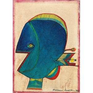 """ALDEMIR MARTINS - """"Peixe"""" - Óleo sobre tela - Ass.dat.1968 inf. dir. - 22 x 16 cm"""