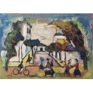 """MARIO ZANINI - """"Paisagem com figuras""""- Óleo sobre madeira - Ass.dat.1965 inf. esq. - 33 x 45 cm - Com etiqueta da """"A Galeria"""" no verso. Ex. coleção Giancarlo Zorlini."""