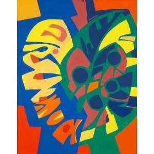 """JACQUES DOUCHEZ - """"Folha-Flor –Estudo para tapeçaria"""" -Guache sobre cartão - Déc.60 - Ass.centro sup -40 x 32 cm - O artista fez a partir desta obra uma tapeçaria com o mesmo título, que participou da mostra Plano e Relevo na Pinacoteca do Estado de São Paulo em 2003."""