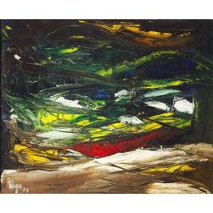 "WEGA NERY - ""Crepúsculo verde"" - Óleo sobre tela - Ass.dat.1974 inf.esq.,ass.dat.tit. no verso. - 60 x 73 cm - No verso, trecho de poema de Carlos Drummond de Andrade."