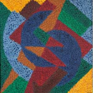 """CLÁUDIO TOZZI - """"Sem título"""" - Acrílica sobre tela sobre eucatex - Ass. inf. dir. ass.dat.1987 no verso. - 40 x 40 cm"""