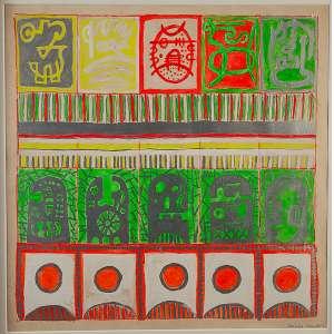 """NIOBE XANDÓ - Máscaras XLV/ GODOT"""" - Acrílica sobre papel - Ass. inf. dir., ass.dat.1969 no verso. - 50 x 50 cm - Registrada sob nº NX01I000/645. Participou das Exposições: Galerie de L 'Université,Paris/França -1969. Walton Gallery, Londres/Inglaterra – 1969. Pinacoteca Benedito Calixto - Santos - SP. 1999."""
