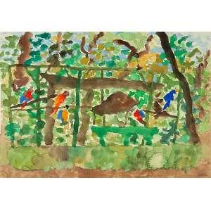 """THOMAS IANELLI - """"Paisagem com araras""""- Aquarela sobre papel - Ass.inf. dir. - 37,5 x 53,5 cm - Ex. coleção Cristina Farias de Paula."""
