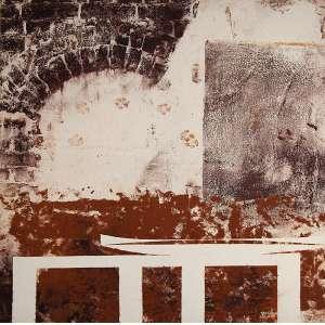 """CARLOS VERGARA - """"Boca de forno com pegadas"""" - Monotipia sobre lona crua -Ass.dat.2006 no verso. - 140 x 140 cm - Com etiqueta de Paulo Darzé Galeria de Arte."""