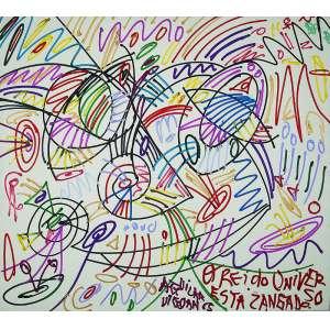 "JOSÉ ROBERTO AGUILAR - ""O rei do universo zangado"" - Acrílica sobre tela -Ass.dat. 1985 no centro. - 160 x 180 cm"