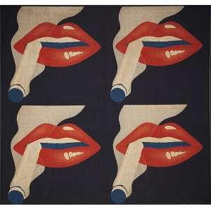 """ARTISTA AMERICANO - """"Sem título""""- Silkscreen sobre tecido - Déc.60/70. - 135 x 130 cm"""
