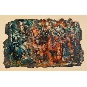 "TOMOSHIGE KUSUNO - ""Sem título""- Óleo sobre papel - Ass.dat.1963 inf. dir. - 34 x 52 cm"