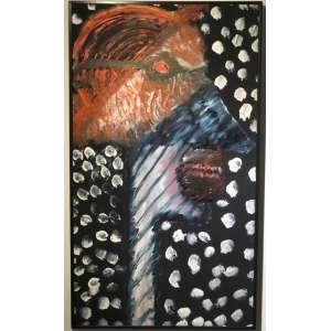 "ARTUR BARRIO - ""Sem título"" - Óleo sobre tela - Ass.dat.1985 sup.dir, ass.dat. no verso. - 106 x 60 cm."