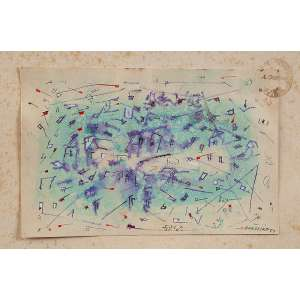 """ANTÔNIO BANDEIRA - """"Sem título"""" - Nanquim e aquarela sobre papel - Ass.dat.1954 inf. dir. - 15 x 23 cm - Com carimbo de autenticidade do MAM."""